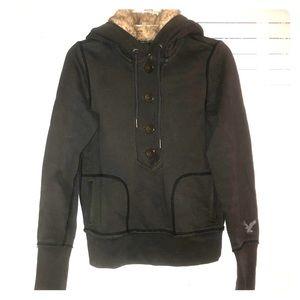 AE half buttoned fur hoodie